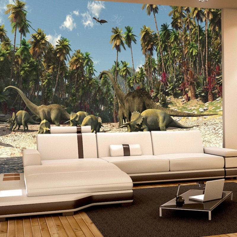 vlies fototapete no 447 kindertapete tapete dinosaurier strand palmen animation gr n. Black Bedroom Furniture Sets. Home Design Ideas