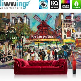 "Vlies Fototapete ""no. 449"" | Gemälde Tapete Malerei Moulin Rouge Kunst Gemälde rot"