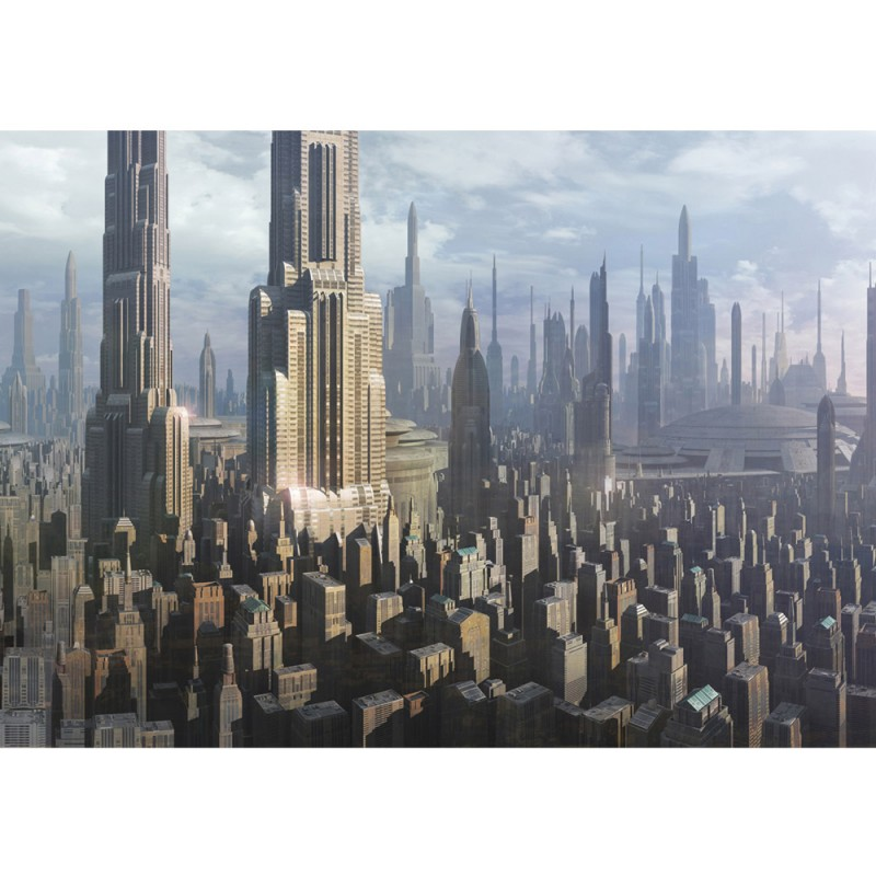 vlies fototapete no 450 kindertapete tapete star wars stadt von coruscant kindertapete. Black Bedroom Furniture Sets. Home Design Ideas