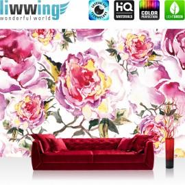 "Vlies Fototapete ""no. 527"" | Blumen Tapete Rosen Blumen Malerei rosa"