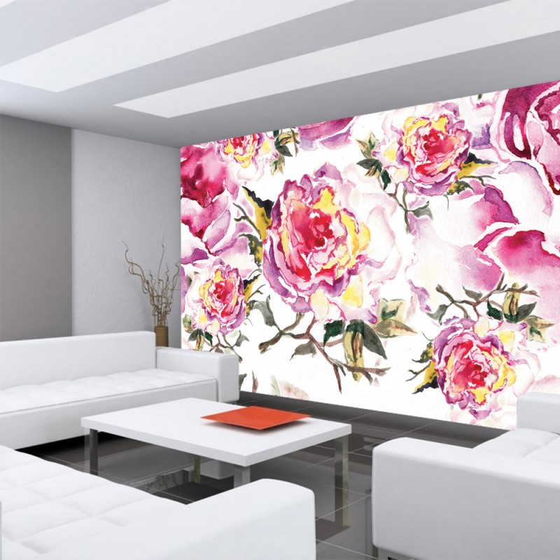 vlies fototapete no 527 blumen tapete rosen blumen. Black Bedroom Furniture Sets. Home Design Ideas
