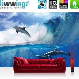 "Vlies Fototapete ""no. 531"" | Meer Tapete Delfin Meer Welle Tropfen Sonne Wasser blau"