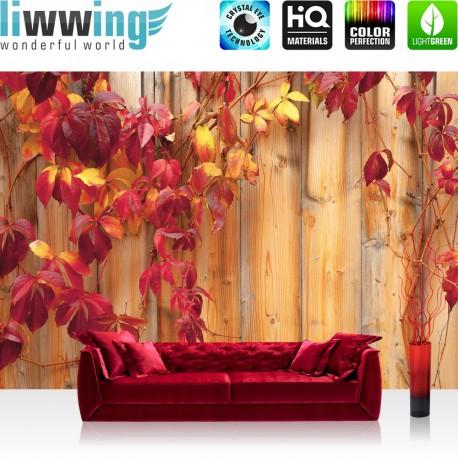 "Vlies Fototapete ""no. 532"" | Holz Tapete Holzwand Holzoptik Blätter Herbst Natur rot"