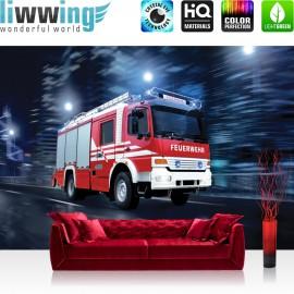 PREMIUM Fototapete - no. 535 | Feuerwehr Auto Nacht Mond