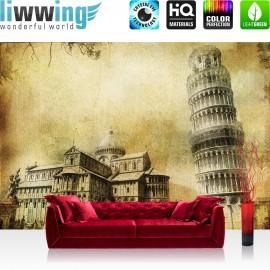 "Vlies Fototapete ""no. 537"" | Italien Tapete Pisa Turm Kathedrale Blätter Statue Vintage beige"
