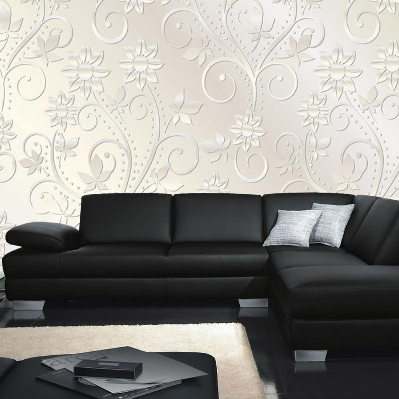 vlies fototapete no 546 ornamente tapete abstrakt blumen bl ten schn rkel ranke wei. Black Bedroom Furniture Sets. Home Design Ideas