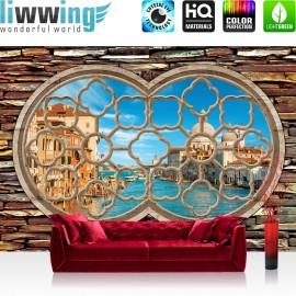 "Vlies Fototapete ""no. 566"" | Venedig Tapete Fenster Wasser Stadt Venedig Kathedrale Gondeln Stein blau"