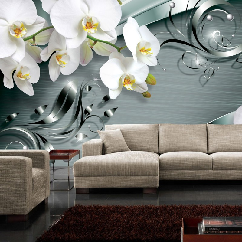vlies fototapete no 606 orchideen tapete ornament orchidee blume bl te grau. Black Bedroom Furniture Sets. Home Design Ideas