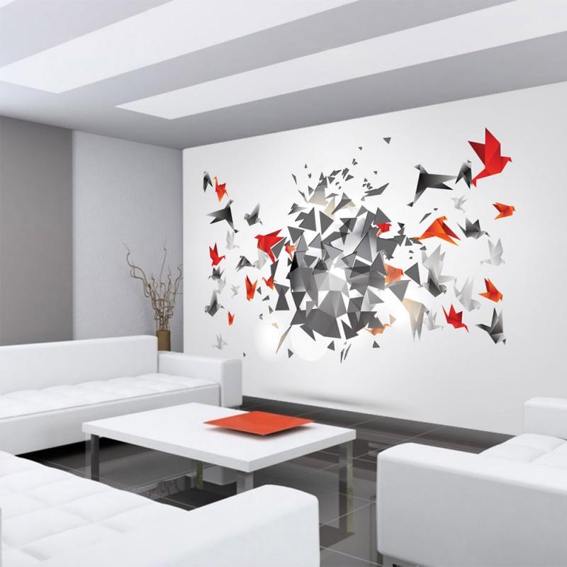 vlies fototapete no 608 kunst tapete origami japan v gel modern art wei. Black Bedroom Furniture Sets. Home Design Ideas