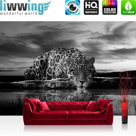 "Vlies Fototapete ""no. 614"" | Tiere Tapete Jaguar Sonnenuntergang Himmel Wasser schwarz - weiß"