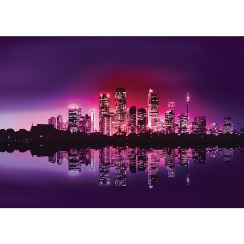 vlies fototapete no 634 skylines tapete stadt nacht skyline lightning lila. Black Bedroom Furniture Sets. Home Design Ideas