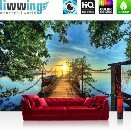 "Vlies Fototapete ""no. 636"" | Sonnenuntergang Tapete Sonnenuntergang Baum Weg Steg Boot blau"