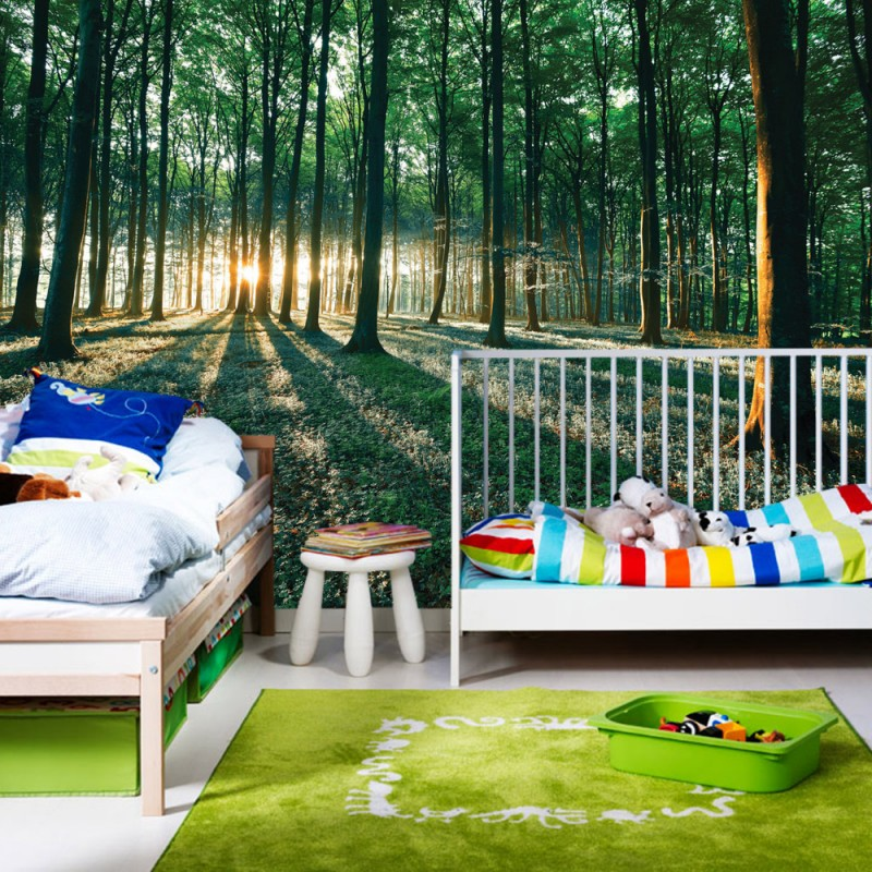 vlies fototapete no 641 wald tapete sonnenuntergang wald b ume wiese gr n. Black Bedroom Furniture Sets. Home Design Ideas