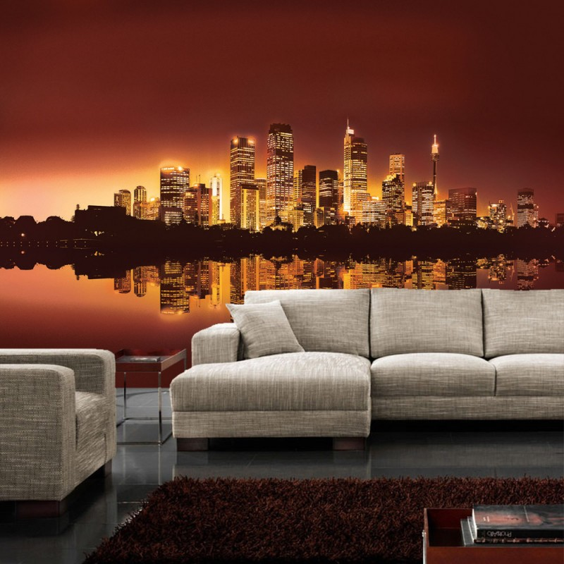 vlies fototapete no 625 skylines tapete stadt nacht skyline lightning wasser city orange. Black Bedroom Furniture Sets. Home Design Ideas