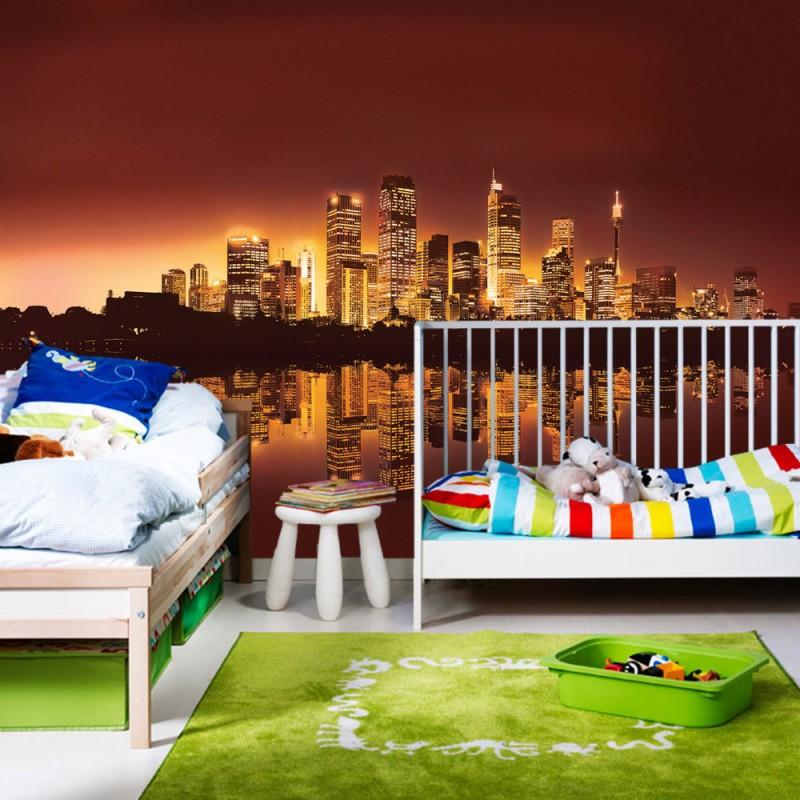vlies fototapete no 625 skylines tapete stadt nacht. Black Bedroom Furniture Sets. Home Design Ideas