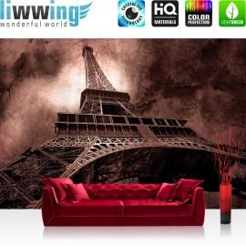 "Vlies Fototapete ""no. 644"" | Frankreich Tapete Eiffelturm Paris Wolken Vintage anthrazit"