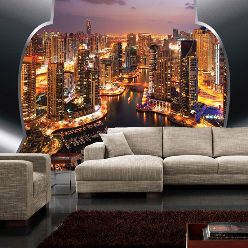 vlies fototapete no 629 skylines tapete skyline panorama hafen lightning rahmen city orange. Black Bedroom Furniture Sets. Home Design Ideas