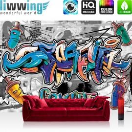 "Vlies Fototapete ""no. 674"" | Graffiti Tapete Kindertapete Graffiti Dosen Schriftzug bunt"