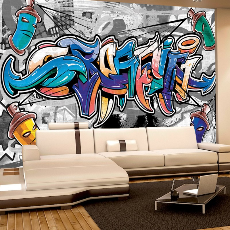 Graffiti tapete jugendzimmer vlies fototapete tapeten xxl for Wandtattoo jugendzimmer jungen graffiti