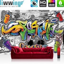 "Vlies Fototapete ""no. 675"" | Graffiti Tapete Kindertapete Graffiti Dosen Schriftzug bunt"