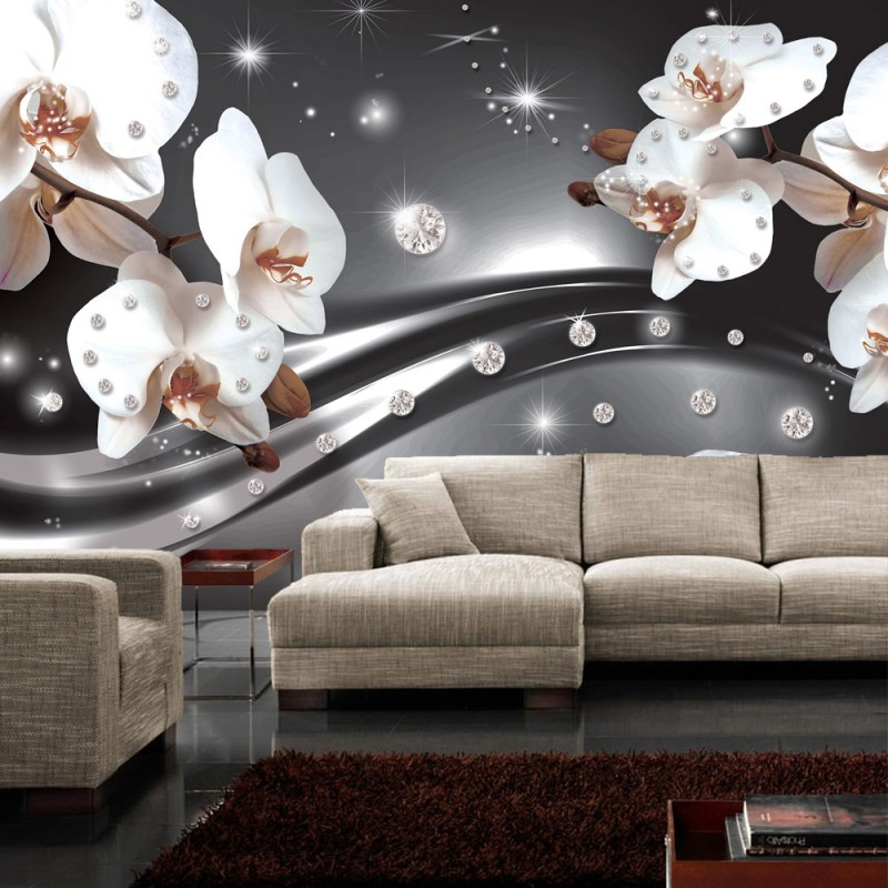vlies fototapete no 685 orchideen tapete ornament orchidee diamanten bl ten blumen grau. Black Bedroom Furniture Sets. Home Design Ideas