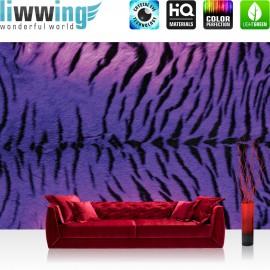 "Vlies Fototapete ""no. 727"" | Tiere Tapete Tiger Fell Muster Streifen lila"
