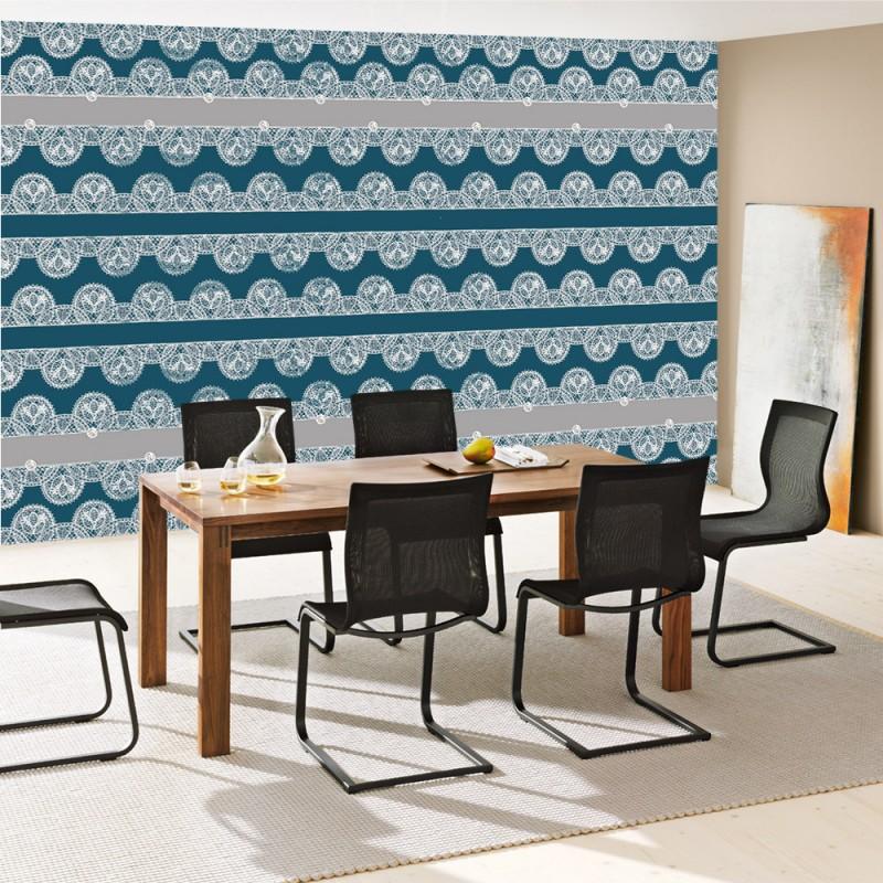 Vlies fototapete no 750 ornamente tapete spitze for Tapete ornamente blau