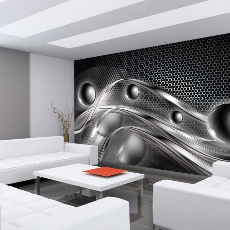 vlies fototapete no 759 3d tapete abstrakt kugeln muster streifen waben 3d grau - Vliestapeten Muster