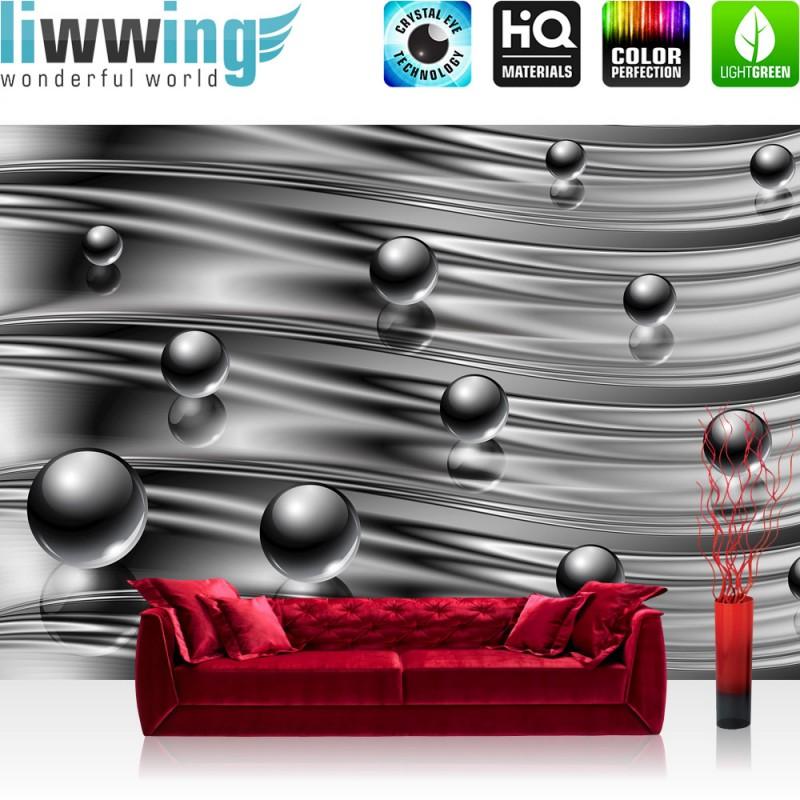 vlies fototapete no 760 3d tapete abstrakt kugel murmel spiegel streifen wellen 3d grau. Black Bedroom Furniture Sets. Home Design Ideas