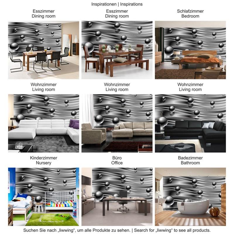 vlies fototapete no 760 3d tapete abstrakt kugel murmel spiegel streifen we ebay. Black Bedroom Furniture Sets. Home Design Ideas