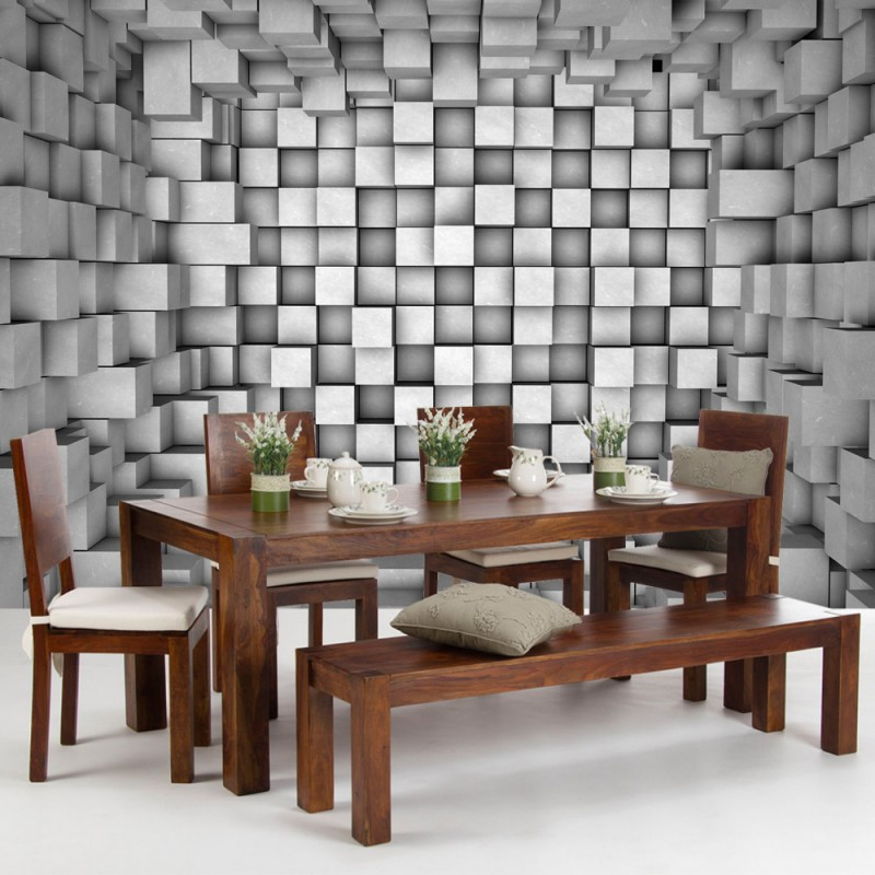 Vlies fototapete no 766 3d tapete abstrakt rechtecke for 3d tapete grau