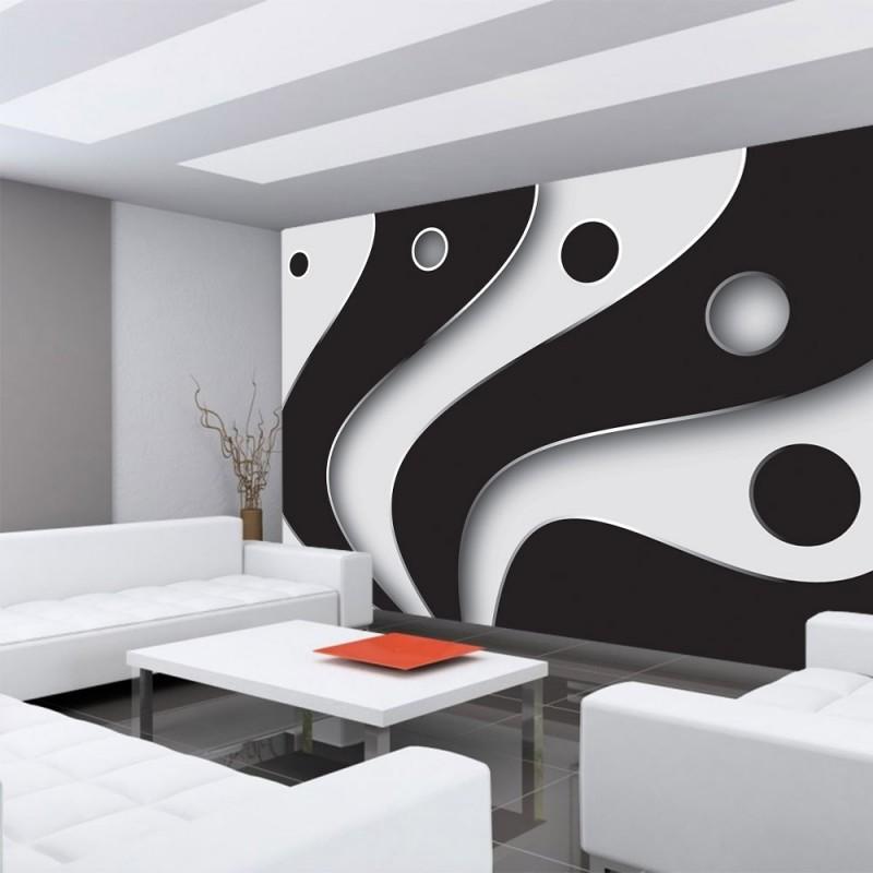 809 3d tapete abstrakt streifen kreise fcher design kunst muster 3d schwarz wei - Tapete Schwarz Weis Muster