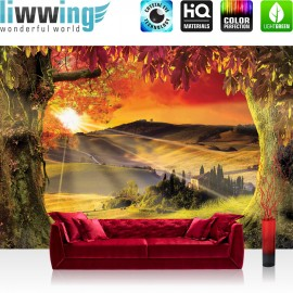 "Vlies Fototapete ""no. 794"" | Sonnenuntergang Tapete Baum Feld Wiese Haus Sonnenuntergang Blätter Herbst orange"