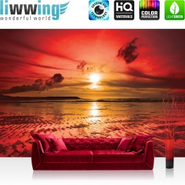 "Vlies Fototapete ""no. 816"" | Sonnenuntergang Tapete Meer Ebbe Wellen Strand Himmel Wolken Sonnenuntergang rot"