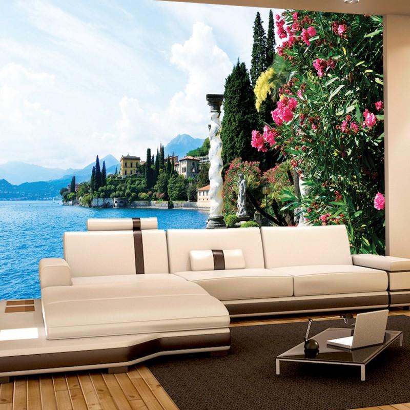 vlies fototapete no 817 landschaft tapete meer villa b ume blumen s ulen steg balkon berge. Black Bedroom Furniture Sets. Home Design Ideas