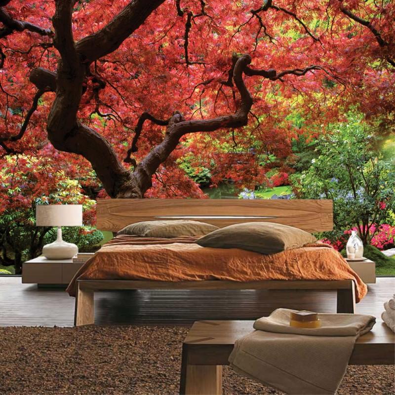 vlies fototapete no 828 wald tapete baum see wiese. Black Bedroom Furniture Sets. Home Design Ideas