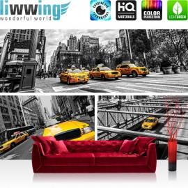 "Vlies Fototapete ""no. 849""   New York Tapete Brücke Taxi Haus Bäume BusFahne Fluss Menschen Straße grau"