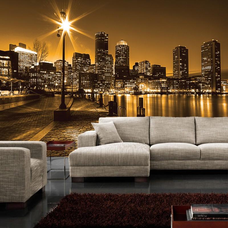 vlies fototapete no 861 new york tapete laterne nacht skyline lichter fluss gelb. Black Bedroom Furniture Sets. Home Design Ideas
