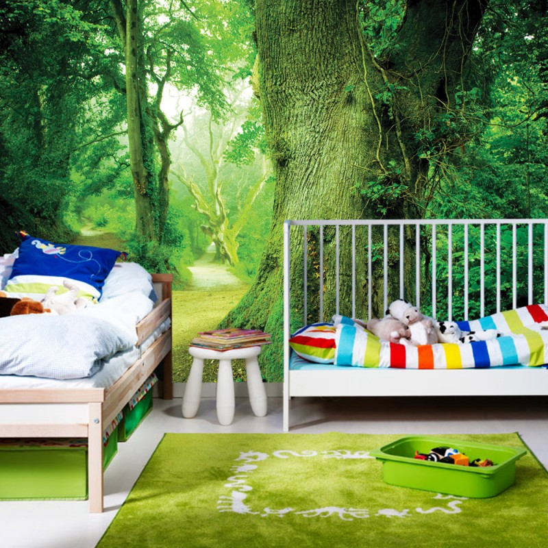 vlies fototapete no 865 wald tapete baum weg bl tter gr n wald stamm gr n. Black Bedroom Furniture Sets. Home Design Ideas
