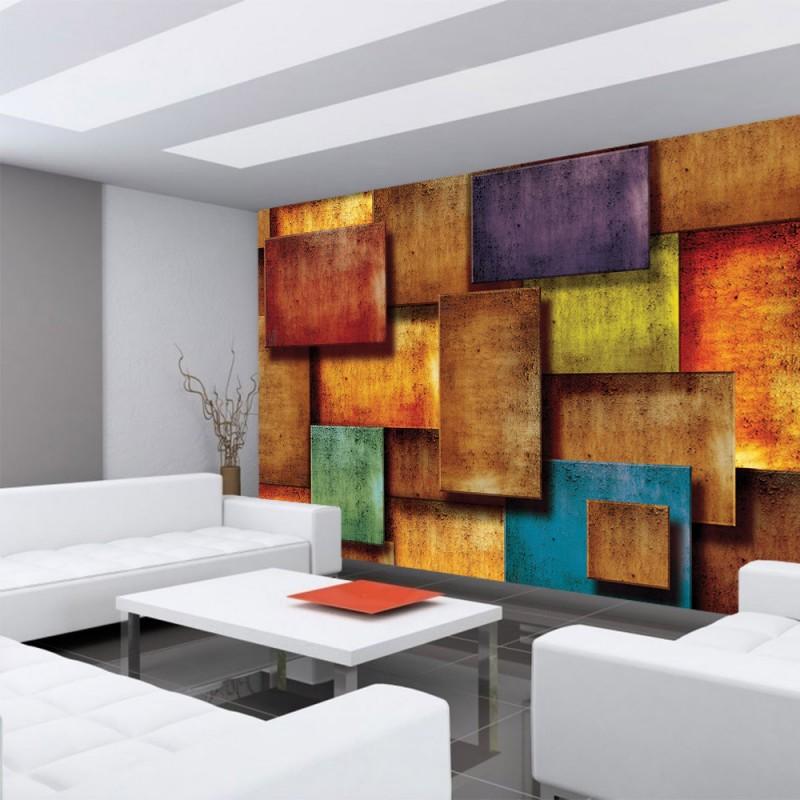 vlies fototapete no 927 3d tapete abstrakt rechtecke. Black Bedroom Furniture Sets. Home Design Ideas