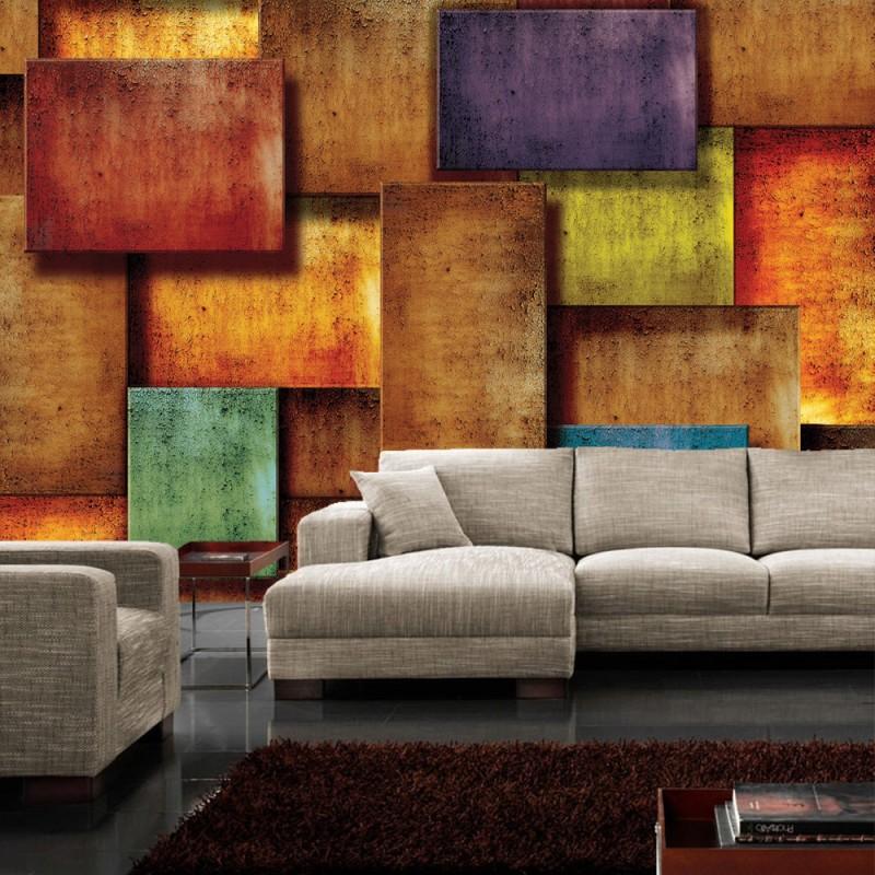 vlies fototapete no 927 3d tapete abstrakt rechtecke steinoptik muster design 3d optik braun. Black Bedroom Furniture Sets. Home Design Ideas