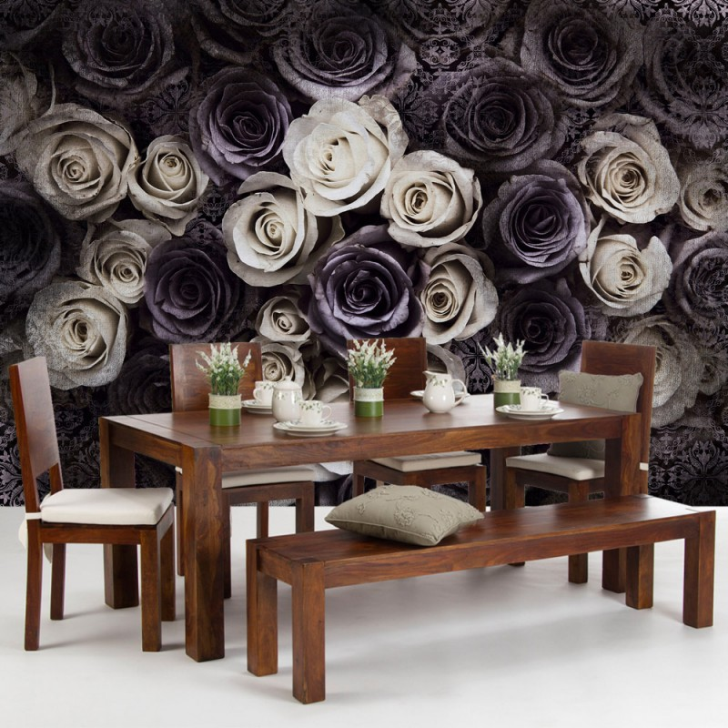 vlies fototapete no 910 blumen tapete blumen bl ten rosen ornamente muster vintage grau. Black Bedroom Furniture Sets. Home Design Ideas