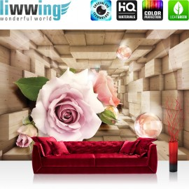 "Vlies Fototapete ""no. 972"" | Blumen Tapete Abstrakt Blume Rose Rechteck Holz Blüte 3D Seifenblasen braun"