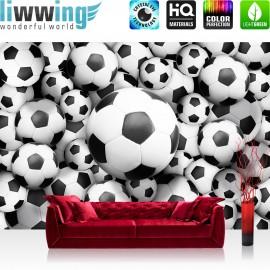 "Vlies Fototapete ""no. 977"" | Fußball Tapete Fussbälle Sport Soccer Fussball WM Football schwarz - weiß"