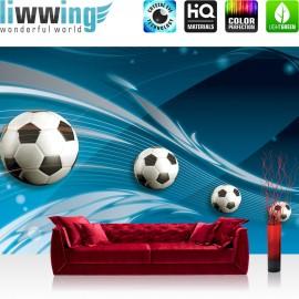 "Vlies Fototapete ""no. 981"" | Fußball Tapete Ornamente Fußball Schlingen Kunst blau"