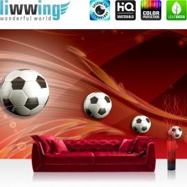 "Vlies Fototapete ""no. 982"" | Fußball Tapete Ornamente Fußball Schlingen Kunst rot"