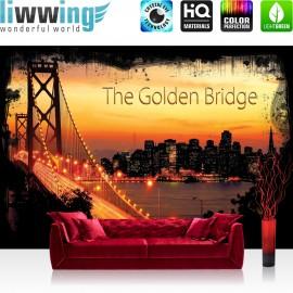 "Vlies Fototapete ""no. 1012"" | USA Tapete Brücke Himmel Lightning Rahmen San Francisco Golden Gate Bridge Skyline orange"