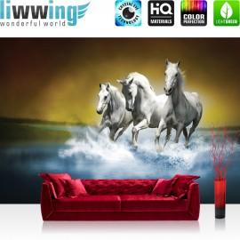 "Vlies Fototapete ""no. 1014"" | Tiere Tapete Pferd Wasser Schimmel Rennpferd blau"