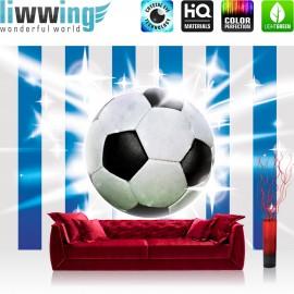 "Vlies Fototapete ""no. 1037"" | Fußball Tapete Fussball Ball Sterne Blau Weiss blau"