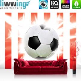 "Vlies Fototapete ""no. 1034"" | Fußball Tapete Fussball Ball Sterne Soccer Rot Weiss rot"